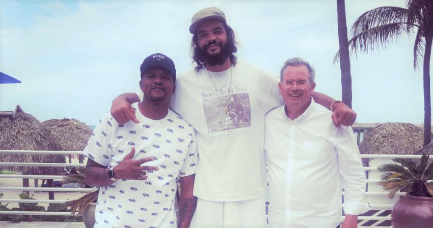 Adrian Walton (Rucker Park Legend), Joakim Noah (NBA Player) and Greg Breunich (ALTD CEO) 2